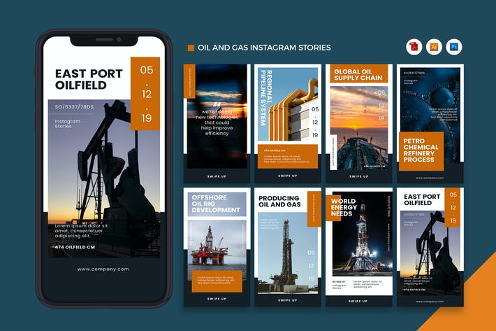 Öl- und Gasindustrie Instagram Stories AI und PSD