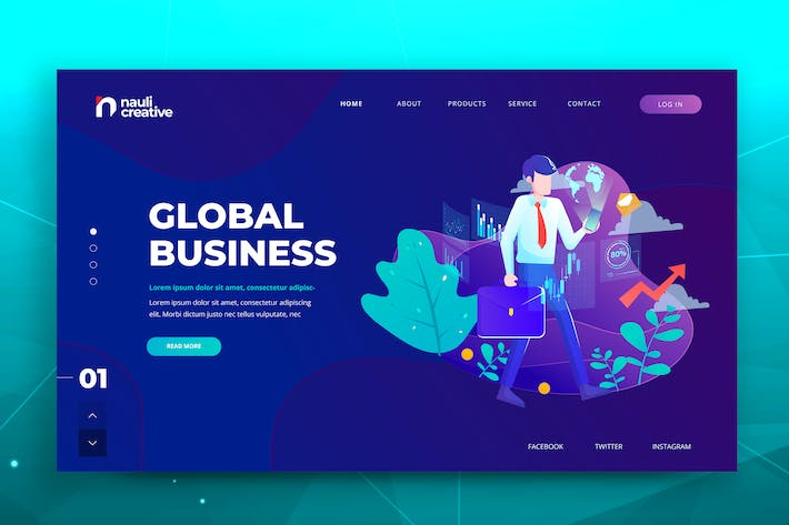 Thumbnail for Global Business Web PSD and AI Vector Template