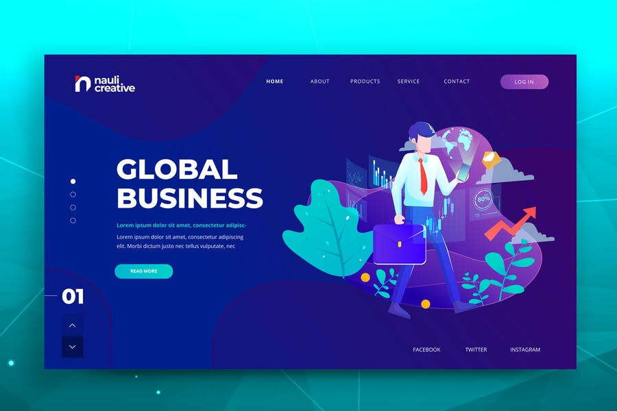 Global Business Web PSD und AI Vektor Vorlage