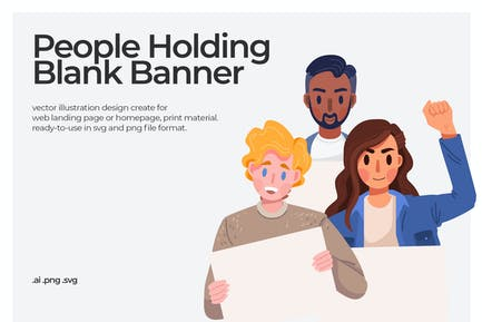 Holding Banner - Illustration