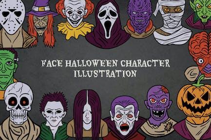 Halloween Character Face's Illustration