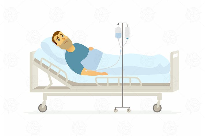 Thumbnail for Man in hospital on a drip - vector illustration