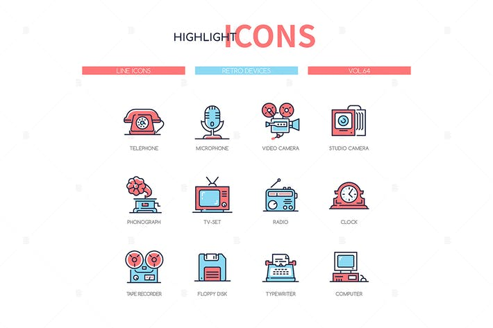 Thumbnail for Retro devices - line design style icons set