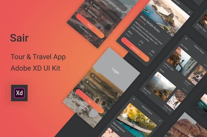 Thumbnail for Sair - Tour & Travel Adobe XD UI Kit