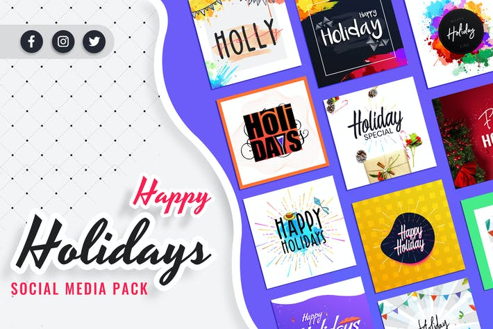 Thumbnail for Holiday Social Media Post Templates