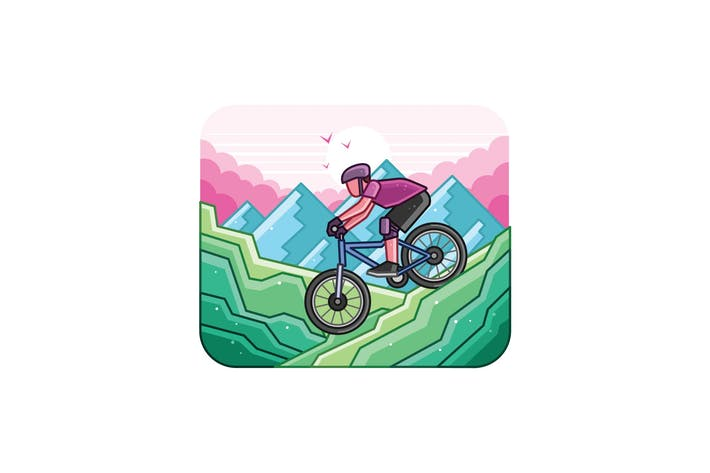 Thumbnail for Mountain Bike Line Art Graphics Illustration