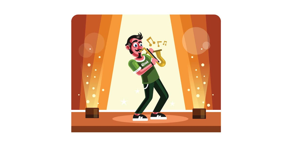 Download Musician Playing Saxophone on Stage by IanMikraz