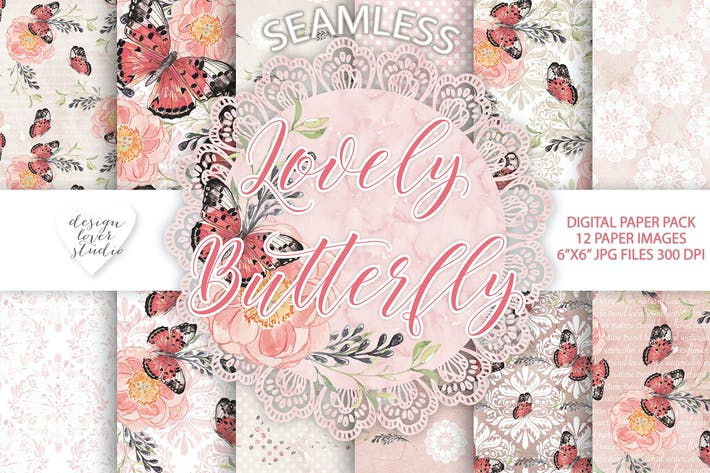 Thumbnail for Lovely butterfly digital papers