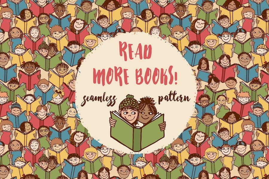 Read More Books! - Seamless Pattern
