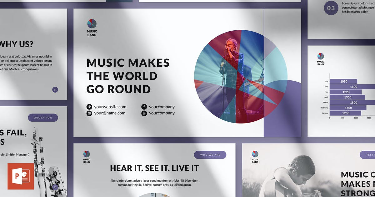 Download Music Band PowerPoint Presentation Template by ambergraphics