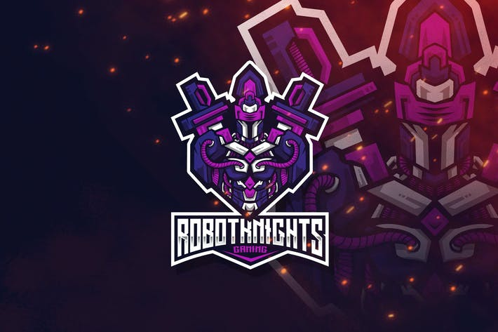 Thumbnail for Robot Knight Esport Logo Template