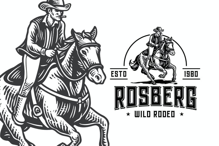Thumbnail for Wild Rodeo Vintage Engraving Logo Template