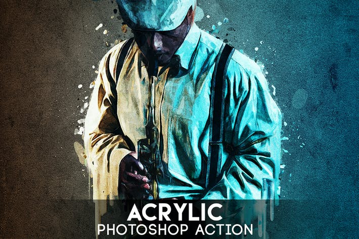 Thumbnail for Acrylic Photoshop Action