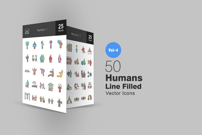 Thumbnail for 50 Humans Line Filled Icons
