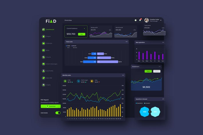Thumbnail for FiAD Finance Dashboard Ui Dark - P