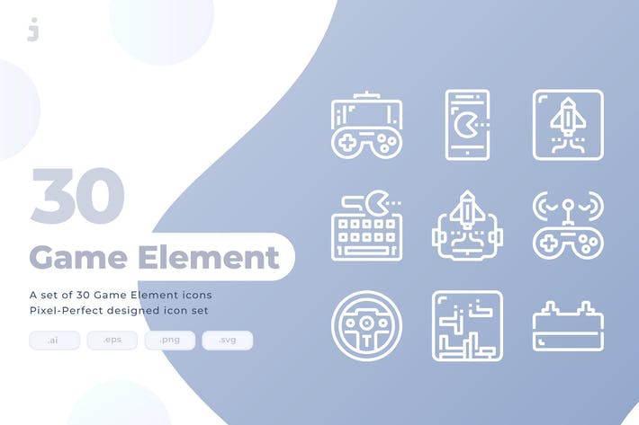 Thumbnail for 30 Game Element Icons