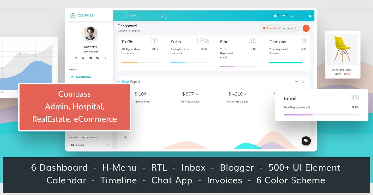 Download Compass Bootstrap 4 multipurpose Admin Template by wrraptheme