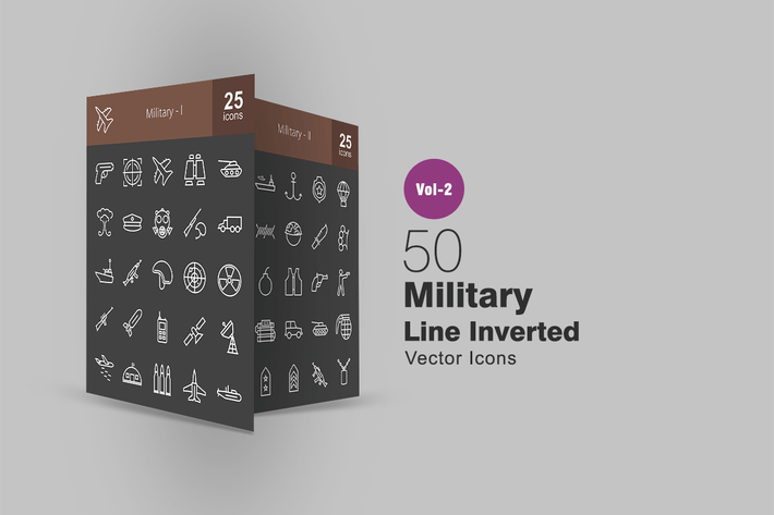 Thumbnail for 50 Military Line Inverted Icons