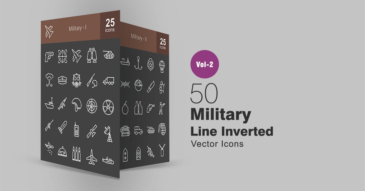 Download 50 Military Line Inverted Icons by IconBunny