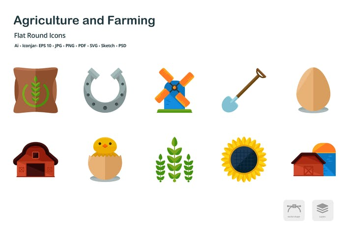 Cover Image For Agriculture and Farming Flat Round Icons