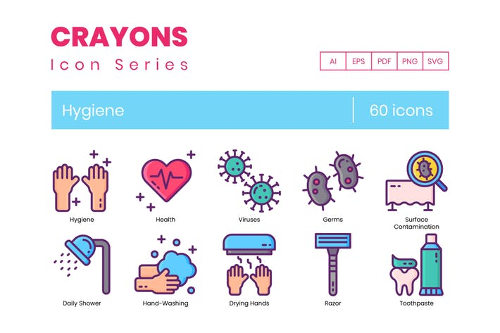 Thumbnail for 60 Hygiene Icons | Crayons Series