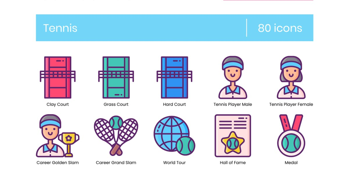 Download 80 Tennis Icons & Sport Icons by Krafted