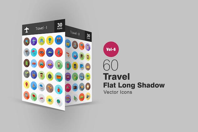 60 Travel Flat Shadowed Icons