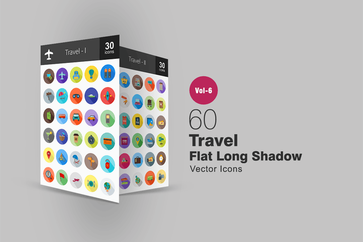Thumbnail for 60 Travel Flat Shadowed Icons