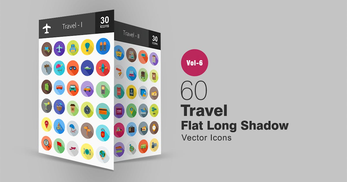 Download 60 Travel Flat Shadowed Icons by IconBunny