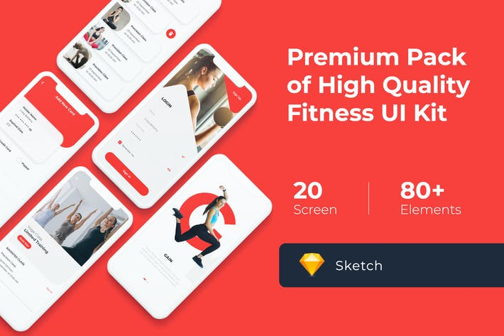 Thumbnail for Gym and Fitness Mobile UI KIT for Sketch