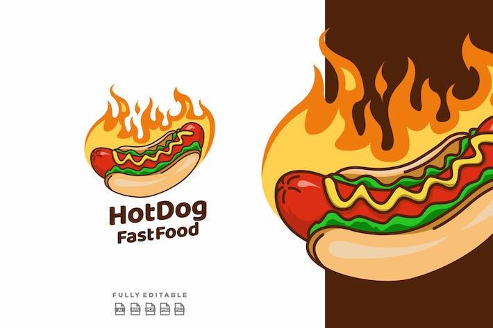 Hot Dog Fast Food Logo