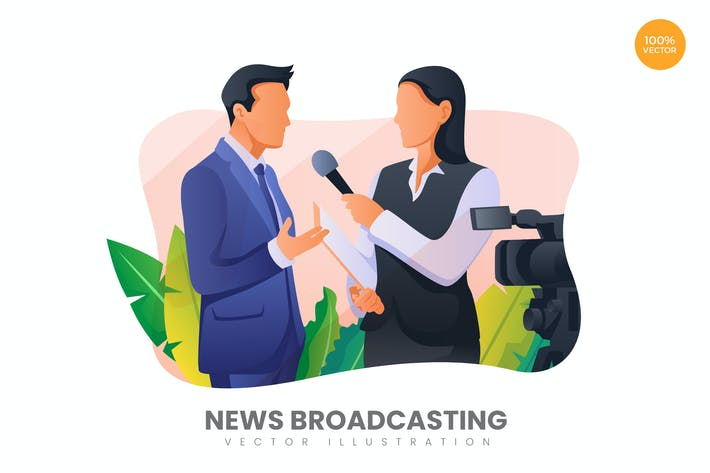 Thumbnail for News Broadcasting Vector Illustration Concept