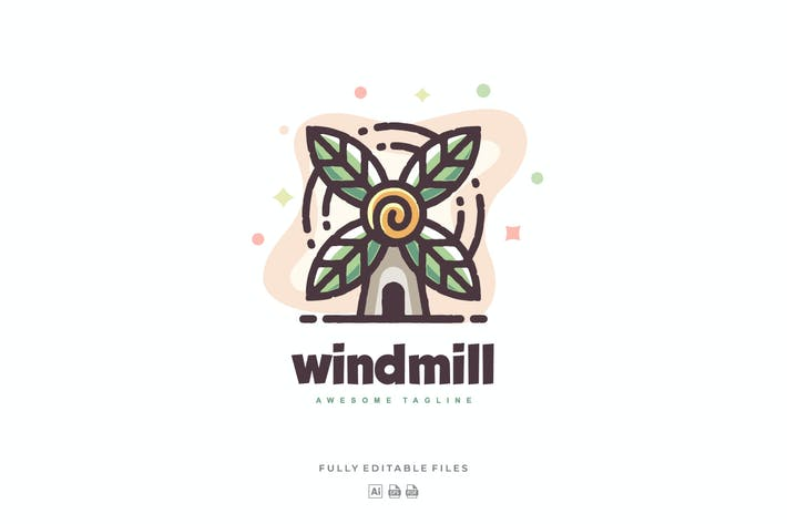 Thumbnail for Windmill with Leaves Color Logo