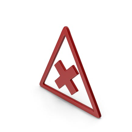 Symbol Road Sign with Cross Red