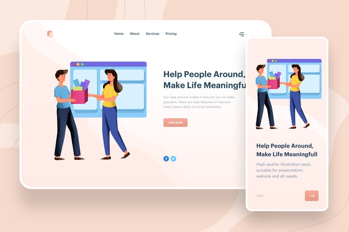 Thumbnail for Help People Around Illustration - Website Header