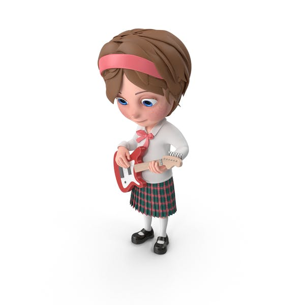 Мультфильм девушка Меган играть на гитаре