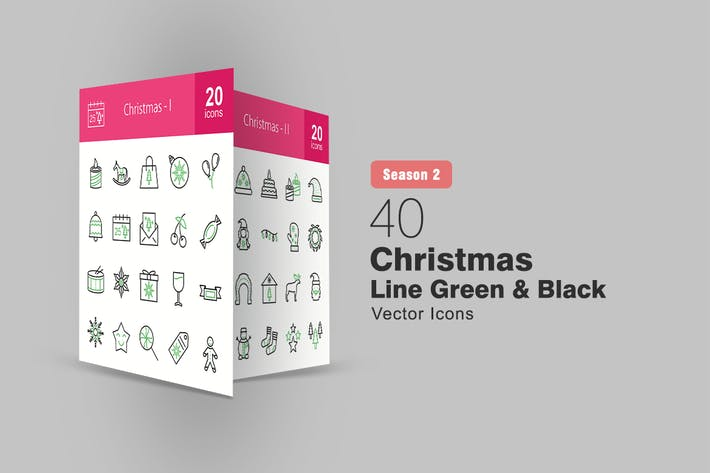 Cover Image For 40 Christmas Line Green & Black Icons