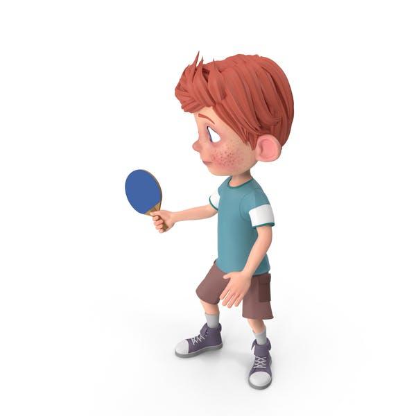Cartoon Boy Charlie Playing Table Tennis