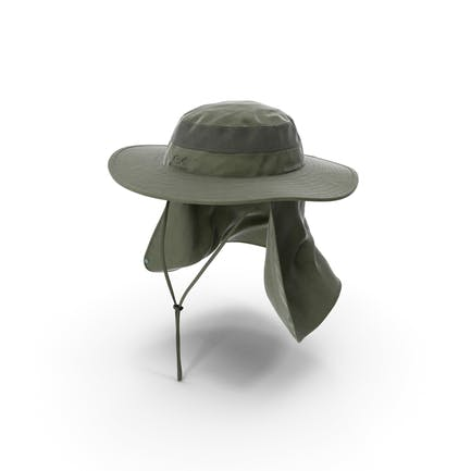 Sombrero de pesca al aire libre verde con solapa extraíble