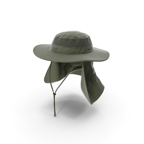 Green Outdoor Fishing Hat with Removable Neck Flap