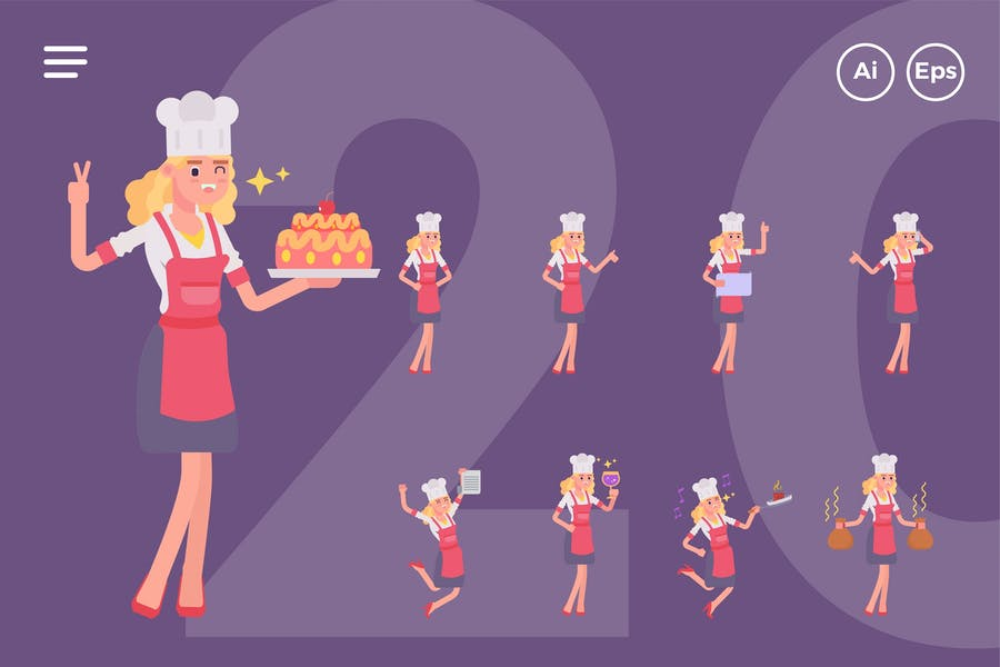 Female Chef Character Set (20 Poses)
