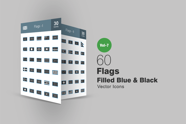 Thumbnail for 60 Flags Blue & Black Icons