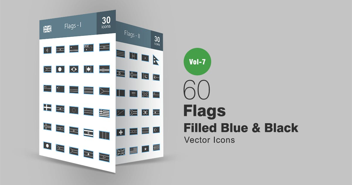 Download 60 Flags Blue & Black Icons by IconBunny