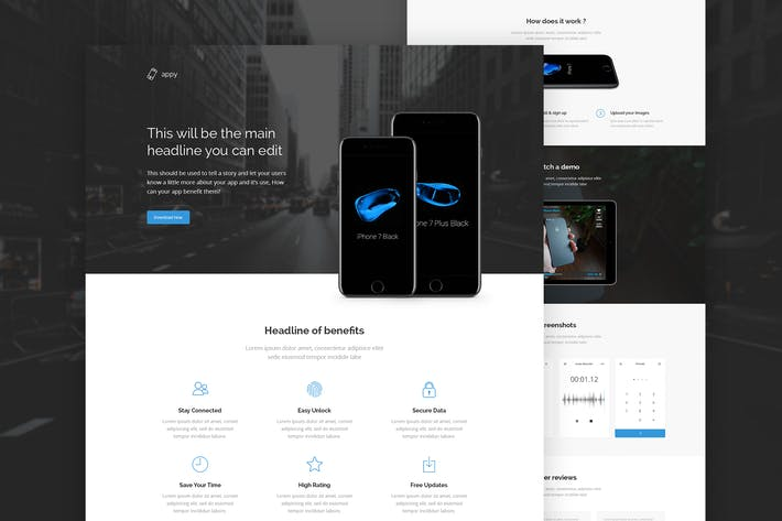 Thumbnail for Appy - App Landing Page PSD Template