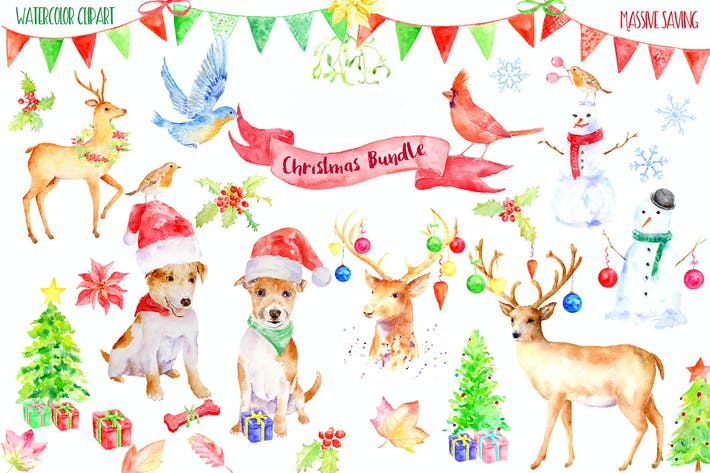 Thumbnail for Watercolor Christmas Bundle