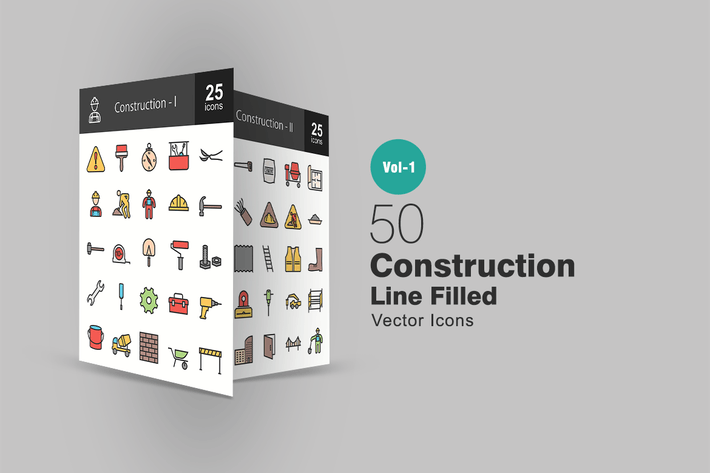 50 Construction Line Filled Icons