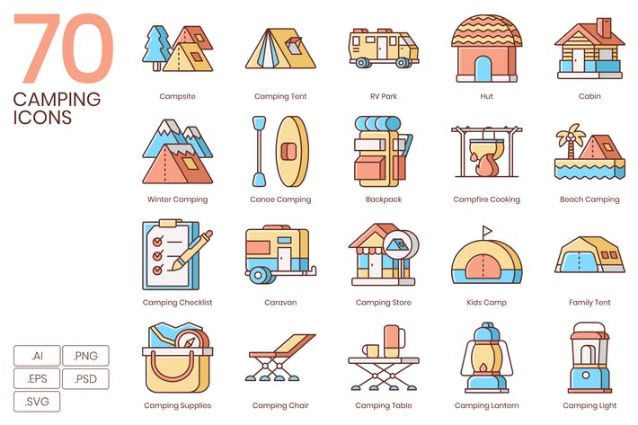 70 Camping Icons | Honey Serie