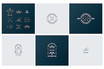 Trendy Retro Vintage Insignias and Logo. The ethno