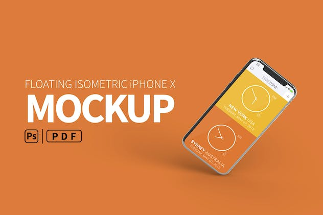 Floating Isometric iPhone Mockup