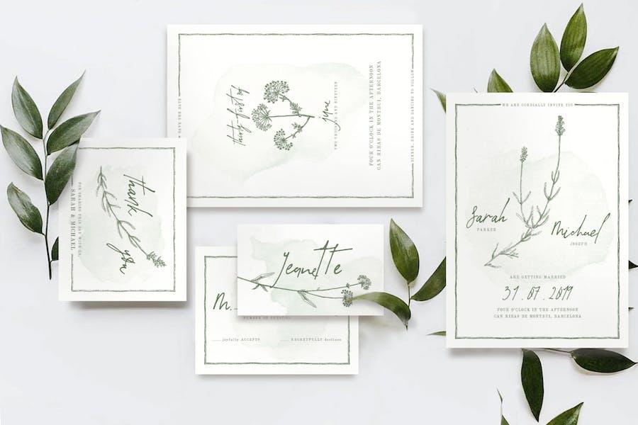 Natural Floral Wedding Invitation Suite